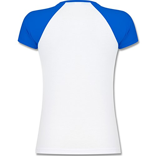 Statement Shirts - Beardformation - zweifarbiges Baseballshirt / Raglan T-Shirt für Damen Weiß/Royalblau
