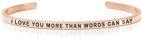 essage Armband Armreif Anna I LOVE YOU MOR THAN WORDS CAN SEY - steel - Rosefarben, One size 3161 ()