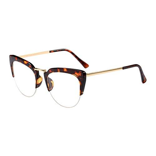 Hzjundasi Cat Eye Semi-Rimless Im Freien Brille Mode Klare Linse Brillen Halber Rahmen Zusammengesetzt Rahmen Retro Persönlichkeit Eyewear für Damen Mädchen