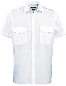 Premier Workwear Camicia da pilota a maniche corte da uomo blu Light Blue