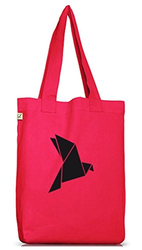 Shirtstreet24, Origami Vogel, Tier Natur Jutebeutel Stoff Tasche Earth Positive (ONE SIZE) Hot Pink