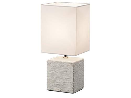 Klassische Keramik LED Tischleuchte in Beton Optik 29cm hoch mit eckigem Stofflampenschirm 13x11cm in Weiß -