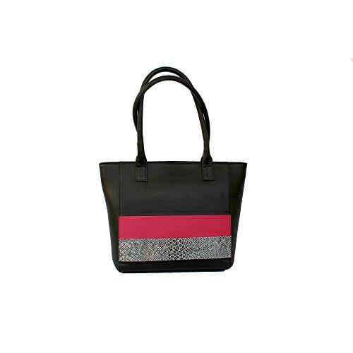 Eastern Counties Leather - Wendy - Borsa stile Tote con pannelli colorati - Donna Nero/Fucsia