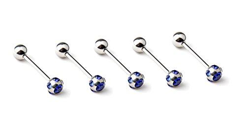 bodya® 5en acier inoxydable 2Couleur serties Cristal Strass Top Barres à anneaux Piercing Langue en acier chirurgical Kit bleu
