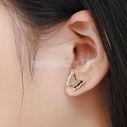Alcoa Prime Women Girls Cute Small Double Frosted Butterfly Rose Gold Ear Studs Earrings
