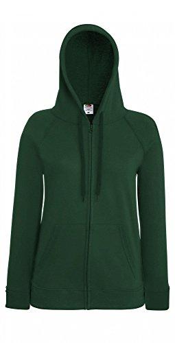 Fruit of the Loom Damen Kapuzenpullover Lightweight Hooded Sweat Jacket Lady-Fit Bottle Green