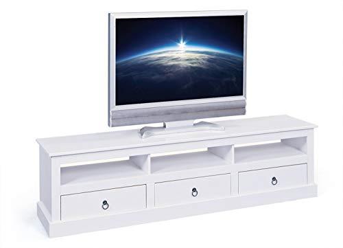 Inter Link Maritim Style El Paso El Paso Fsc-TV Kommode Kiefer, Massivholz Glas, Weiß, 115 x 60 x 45 cm