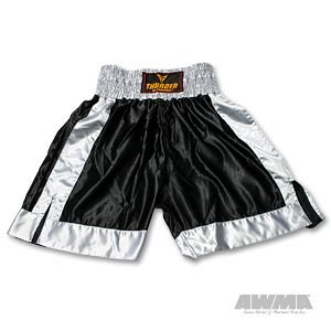 ProForce Thunder Satin Boxing Trunks - Black/Grey Medium -