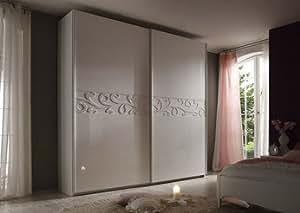 Armoire adulte design laquée blanche INFINITY 2, 2 portes coulissantes Longueur 280 cm