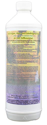 A.K.B. 0586(1l 60Fach) Algenentferner Moosentferner Grünbelagentferner Steinreiniger Fassadenreiniger Dachziegelreiniger, 1 Liter, farblos