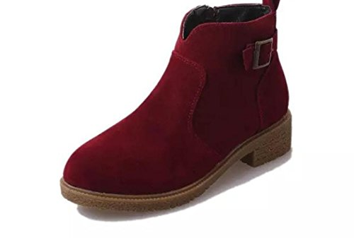 YCMDM Femmes Martin Bottes Chaussures simples Bottines plates Bottomed red