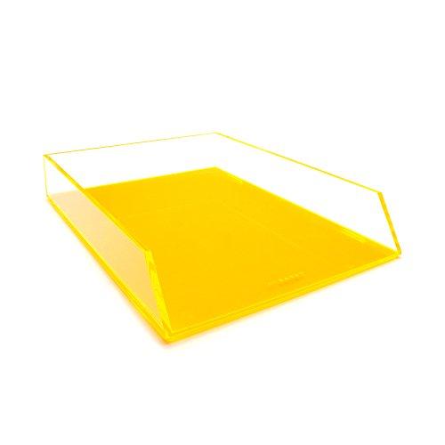 Klar Brief-fach (Single Orange Acryl Kunststoff Stapeln, Ablagekorb Schreibtisch Tidy Organizer für A4Buchstaben und Dokument Halter)