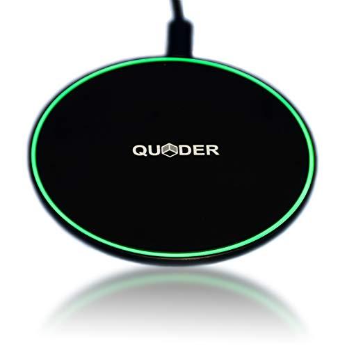 QUDER Wireless Fast Charger - Qi Induktive Ladestation für iPhone XS/iPhone Xr/iPhone 8 / Galaxy S9 / Note/Huawei Mate 20 Pro/LG/HTC und alle Anderen Qi fähigen Smartphones (Schwarz)
