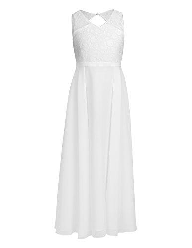 Tiaobug Blumenmädchenkleider für Hochzeits Brautjungfern Tüll Festzug Partei Festliches Kleid für Mädchen 104 116 128 140 152 164 Ivory B 122-128