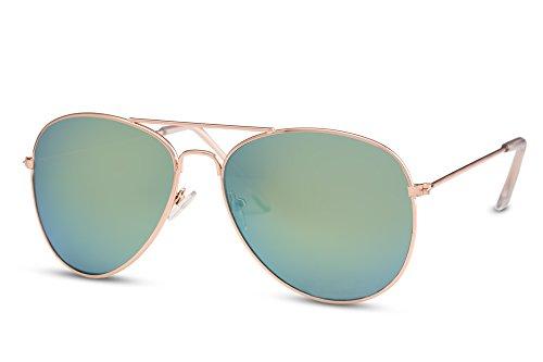 Cheapass Flieger-Sonnenbrille Verspiegelt UV-400 Gold Grün Piloten-Brille Retro Metall Damen Herren