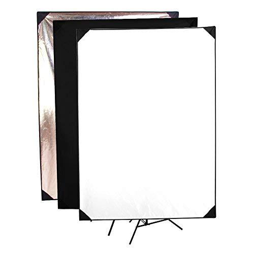 fotocreat 71,1cm × 99,1cm (70× 100cm) Gold/Silber & Schwarz/Weiß & durchscheinend Flat Panel Licht Reflektor mit 360Grad drehbare Halterung für Foto Studio Flat-panel-kit