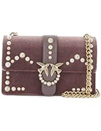 Pinko Love Velvet Pearls Tracolla Velluto+perle - Shoppers y bolsos de hombro Mujer