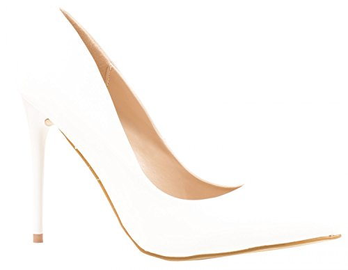 Elara Spitze Pumps   Moderne High Heels   Bequeme Lack Stilettos Weiss 37