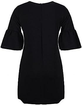Beauty7 Falda de 3/4 Manga de Burbujas Vestido Clásico Dress Elegante de Color Puro de Negro Liso para Coctel...