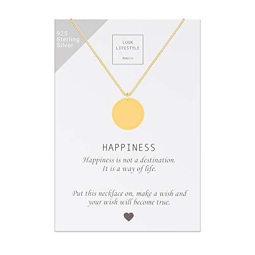 LUUK LIFESTYLE Sterling Silber 925 Halskette mit Plättchen Anhänger und Happiness Spruchkarte, Glücksbringer, Damen Schmuck, gold