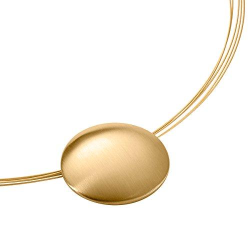 Heideman Halskette Damen Rhombus aus Edelstahl Gold farbend matt Kette für Frauen Klassische ovale Schmuck Form Edelstahlschmuck