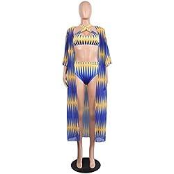 Clode 3 PCS Mode Femmes Africain Imprimer Bikini Plage Maillots De Bain Cover Up Candigan Costume (XL)