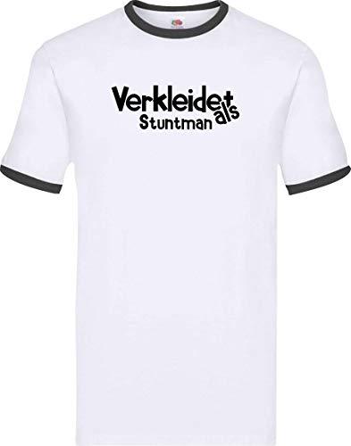 Kostüm Stuntman - Ringer Shirt Karneval Verkleidet als Stuntman Fasching Kostüm Verkleidung, Farbe Weiss-schwarz, Größe L