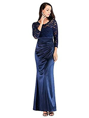 Ever Pretty Women's Elegant 3/4 Lace Sleeves Round Neck Floor Length Long Formal Evening Dresses 07584