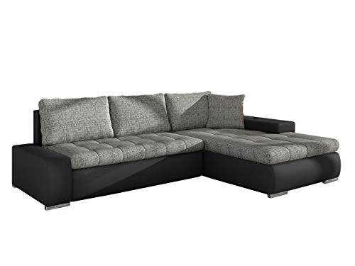 Mirjan24  Elegante Sofa Orkan Mini mit Schlaffunktion und Bettfunktion, Eckcouch Ecksofa mit Bettkasten, Couch L-Sofa Große Farbauswahl, Beste Qualität (Ottomane Universal, Soft 011 + Lawa 05) - Couchgarnitur Ottomane