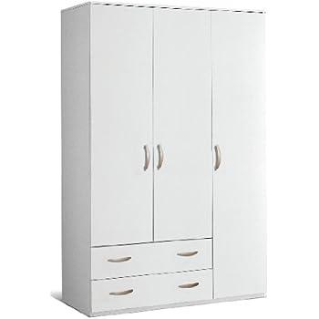 armadio in legno 3 ante 2 cassetti 121X52X175CM colore ...