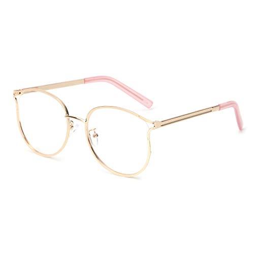 Exing Optische Gläser Mode Retro Cat Eye Metallrahmen Klare Linse Frauen Männer Spektakel (Gold)