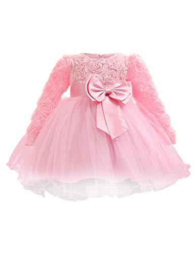 BESBOMIG Kleinkind Baby Mädchen Kleid langärmliges Mesh Rock -