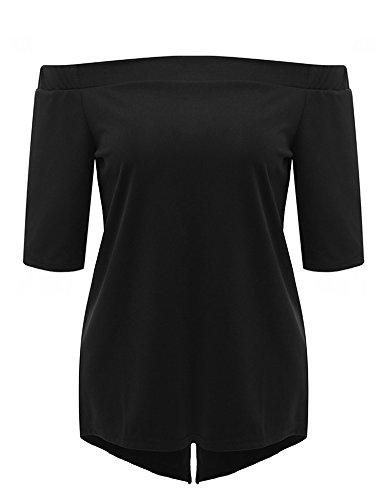 Casuale Camicia Del Breve Manicotto T-shirt Per Donne Tinta Unita Fuori Dalla Spalla Senza Schienale Maglietta Nero