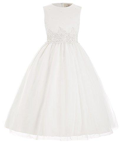 GRACE KARIN Rundausschnitt milchweiss Blumenmaedchen Kleid Ball Kleid 10-11 Jahre