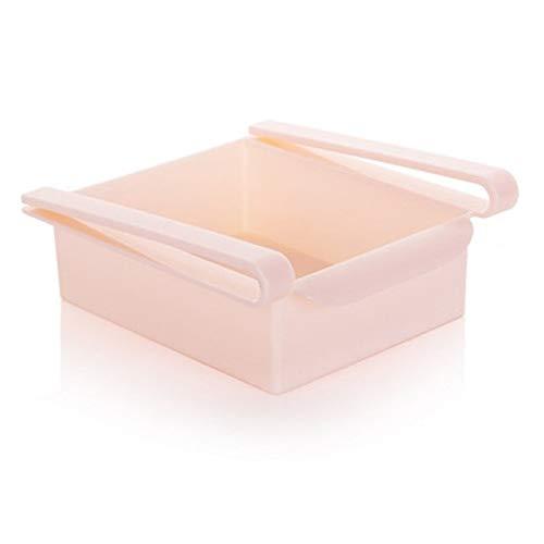 RYBJH Kunststoff Küche Kühlschrank Rack für Kühlschranktisch Regal Halter Ziehen Schublade Veranstalter Platzsparer Bequem ErhaltenRosa