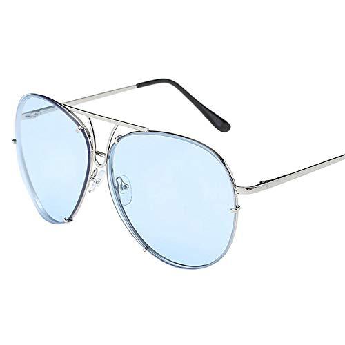 LAMAMAG Sonnenbrille Retro Frauen Mann Sonnenbrille Übergroße Aviator Sonnenbrille Flache Oberseite Große Große Verspiegelten Rahmen Oculos, G
