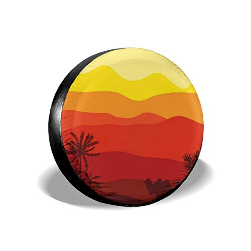 BBABYY Tire Cover Tire Cover Wheel Covers,Abstract Exotic Dessert Outdoor Scene With Camel And Trees In Warm Colors Palette,for SUV Truck Camper Travel Trailer Accessories 15 inch