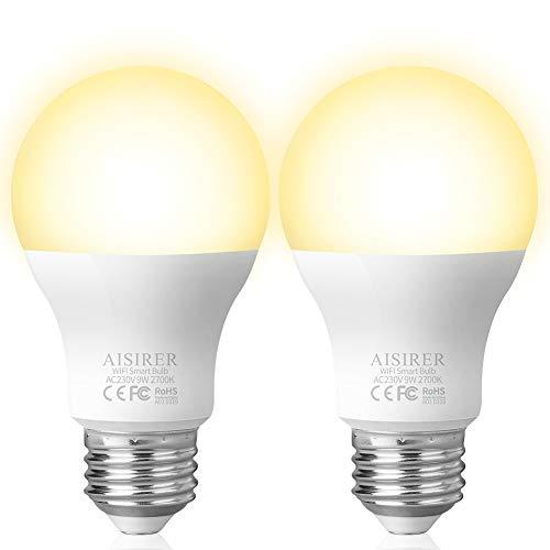 Airsirer Alexa LED-Leuchtmittel, WiFi, kein Hub erforderlich, E27-Bajonettsockel, kompatibel mit Alexa Google Home IFTTT, dimmbar, warmes Licht, 2700 K, 9 W, 60 W, 806 lm (2 Stück) -