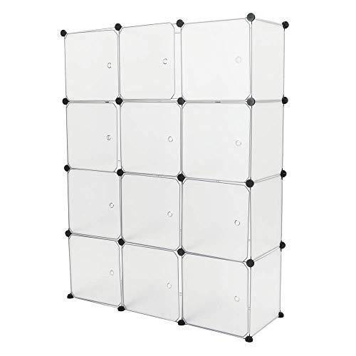 PrimeMatik - Armario Organizador Modular Estanterías de 12 Cubos de 35x35cm plástico Blanco con Puertas