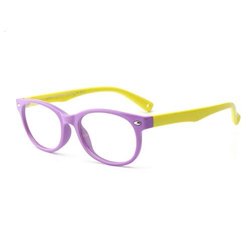Haiyemao feiner Seitenrahmen Kinder Silikon Brille Flexible Kids Brillengestell mit Brillenband für Jungen Mädchen - Lila und Gelb Rahmengläser gelten (Color : Purple)