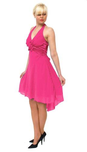 Edles Chiffon Neckholderkleid (12122) Pink