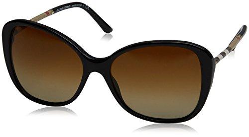 Burberry 0be4235q 3001t5, occhiali da sole donna, nero (black/polarbrowngradient), 57