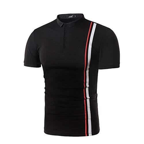 Xmiral T-Shirt Tops Herren Neue Casual Patchwork Revers Kurzarm Umlegekragen Polyester Streifen Hemd Sport Ballsportarten Kostüm(L,Schwarz)