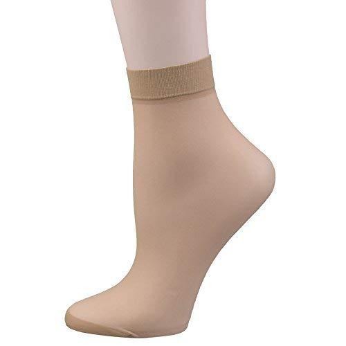 FITU damen 30d schiere nylon knöchelhoch transparenten strumpfhosen strumpfsocken einheitsgröße beige -