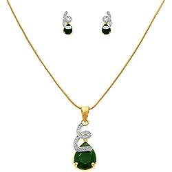JFL - Jewellery for Less Lovely American Diamond Green Glossy Stone Pendant with Chain & Earring Set for Women & Girls