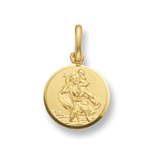 St Christophe Rond en or 9ct pour enfant pendentif sur un collier de Prince Pays De Galles