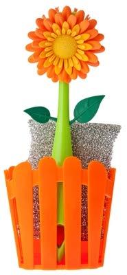 FLOWER BRUSH WITH VASE | CLEANING SUPPLIES | (Orange Fence, Medium)