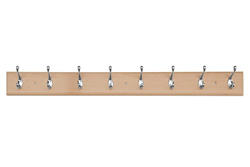 Comifort- Perchero de Pared de Madera Maciza de Haya 8 Ganchos en Cromo color Blanco (Madera, 8 ganchos Cromo)