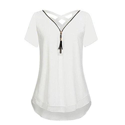 Damen Sommer Reißverschluss Tank Crop Tops Vest Tanktops Weste Cami DOLDOA Oberteile T-Shirt Geburtstags Geschenk Für Frauen Mädchen Freundin (EU:42, Weiß - 7)