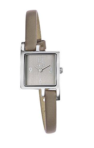 opex-x3231lb3-jour-montre-femme-quartz-analogique-cadran-acier-brosse-bracelet-cuir-taupe